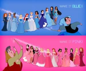 Arte de Bernardo no Photoshop: as Fadas Fauna e Primavera brigando pela cor dos vestidos das Princesas. Adorei a ideia!